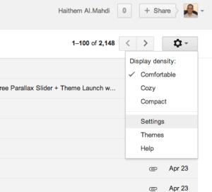 واجهة بريد Gmail - زر الإعدادات