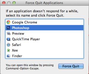 إختر التطبيق الذي تود إنهاء عمله