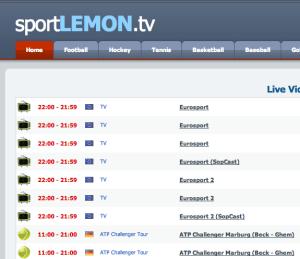 الصفحة الرئيسية لموقع Lemon Sport TV