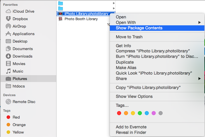 الوصول إلى مكتبة تطبيق iPhoto